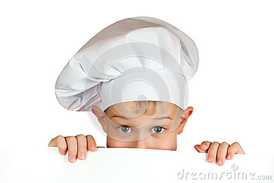 Chef boy is hiding behind a white sheet