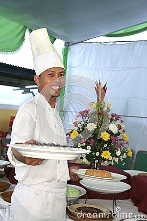 Chef at buffet food