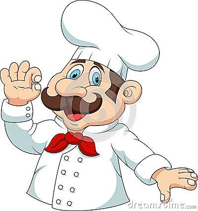 Chef Cartoon Ok Sign Illustration Mr Holding Bread