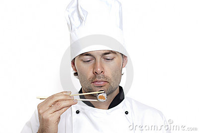 Chef in Chef s Hat with sushi