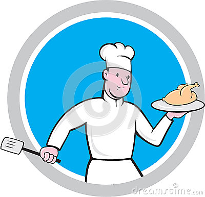 Chef With Chicken Spatula Circle Cartoon