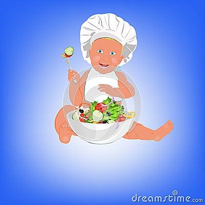 Chef Child and fresh vegetable salad