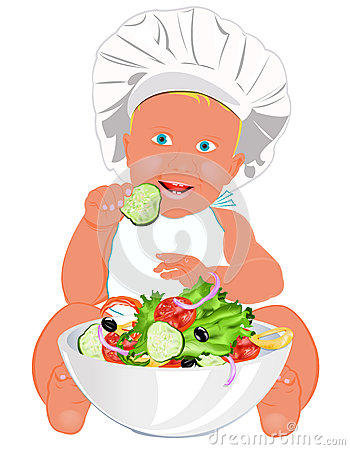 Chef Child and fresh vegetable salad