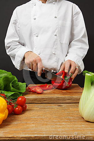 Chef Chopping Vegetables Stock Images - Image: 24421064