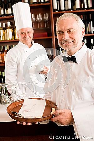 Chef cook drink coffee waiter tray restaurant