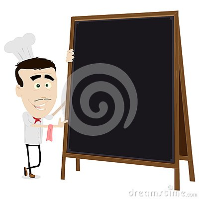 Chef Cook Holding A Blackboard