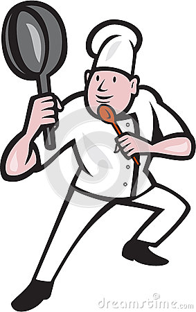 Chef Cook Holding Frying Pan Kung Fu Stance Cartoon Stock ...