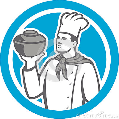 Chef Cook Holding Up Pot Retro