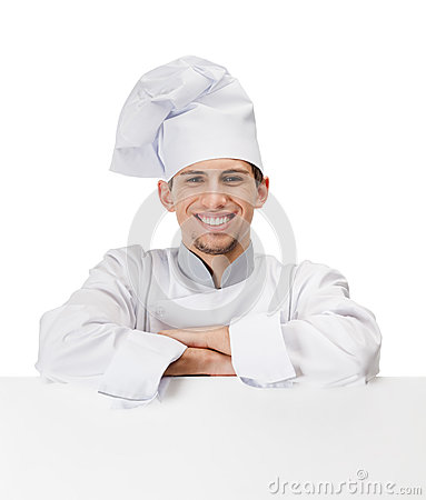 Chef cook leans on a cardboard sheet