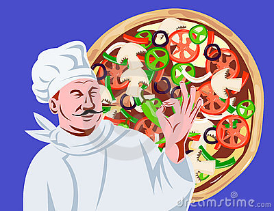Chef Cook okay sign with pizza