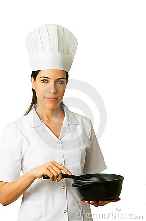 Isolated Chef Cooking