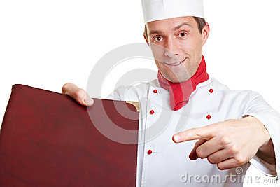 Chef cook recommending menu card