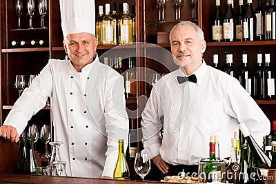Chef cook and waiter restaurant wine bar