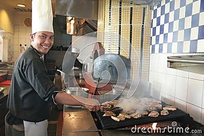 Chef cooking steak