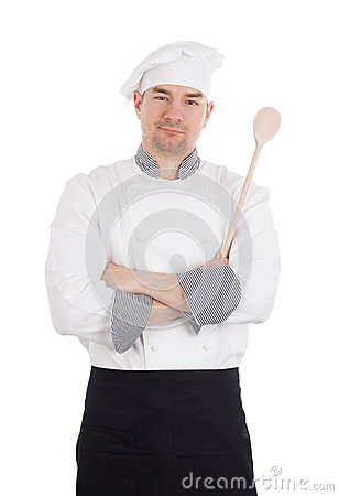 Free Chef Crossing Arms Holding Wooden Spoon Stock Photo - 40289180