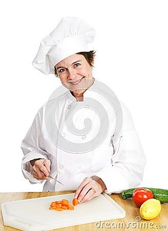 Chef Cuts Up Veggies Stock Photo Image 46251805