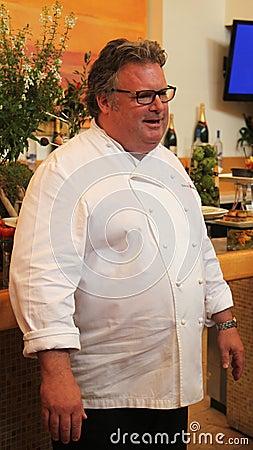Chef David Burke de célébrité pendant la prévision d échantillon de nourriture d US Open Photo stock éditorial