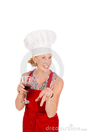Chef drinking wine
