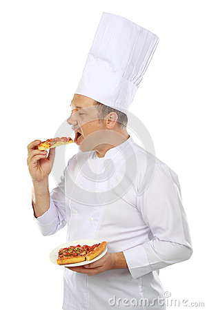 Chef eating pizza