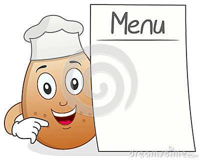 Chef Egg Character with Blank Menu