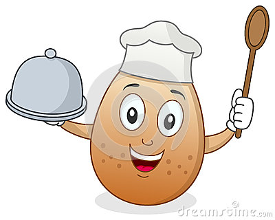 Chef Egg Character with Tray and Spoon