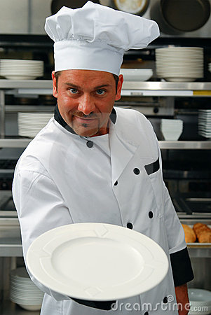 Chef with empty plate