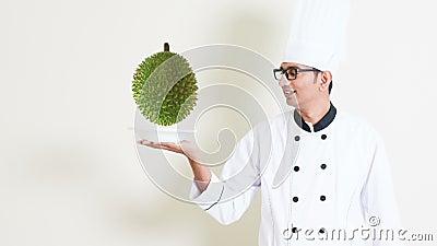 Chef en durian stock footage