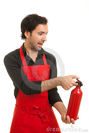 Free Chef Fire Extinguisher Stock Photo - 19992440