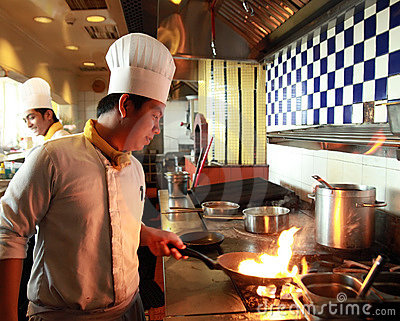 Chef flambe cooking