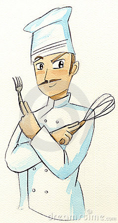 Chef with fork and whisk