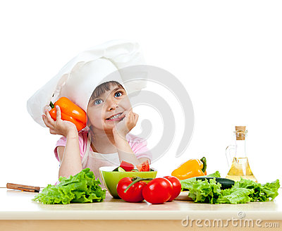 Chef girl preparing healthy foo