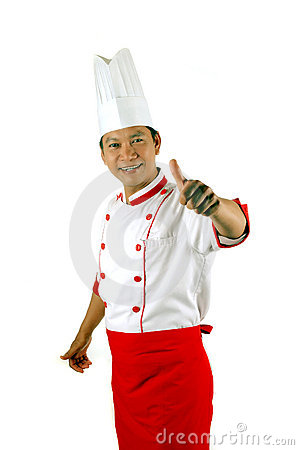 Chef gives thumbs up sign