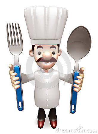 Chef Grasp a spoon and fork in both hands