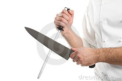 chef hands with knife sharpen steel stock image 19050355. Black Bedroom Furniture Sets. Home Design Ideas
