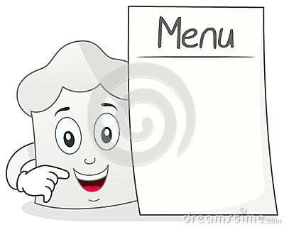 Chef Hat Character with Blank Menu