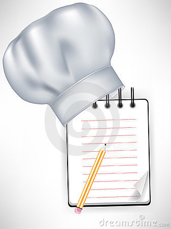 Chef hat with recipe notebook
