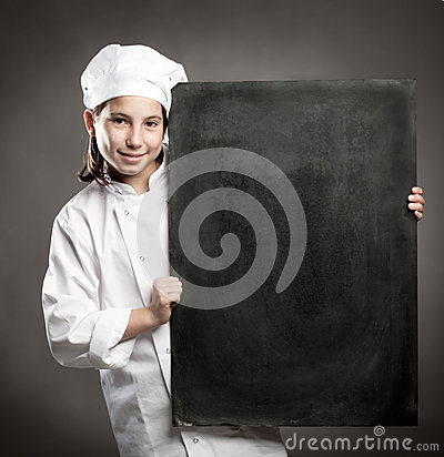Chef holding  chalkboard