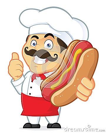 Free Chef Holding Hot Dog Stock Images - 37352284