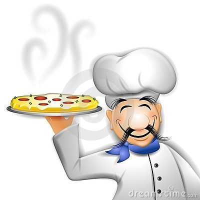 Chef Holding Hot Pizza
