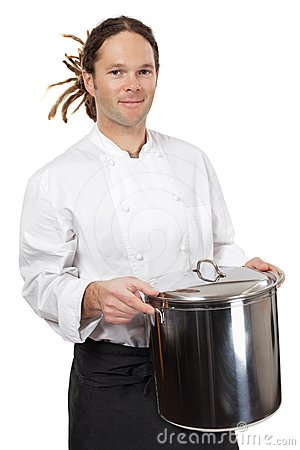 Chef holding large pot