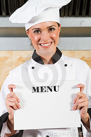 Chef holding menu