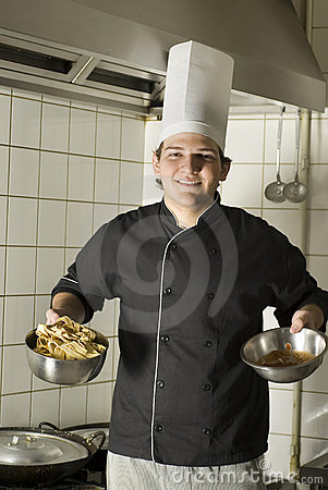 Chef Holding Noodles