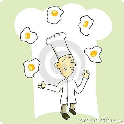 Chef Juggling Eggs
