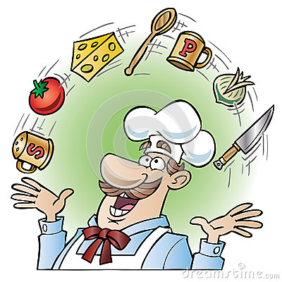 Chef juggling kitchen utensils and food items