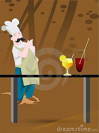 Chef and juice glasses