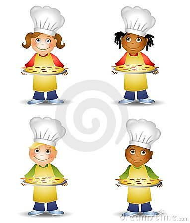 Chef Kids Holding Pizza
