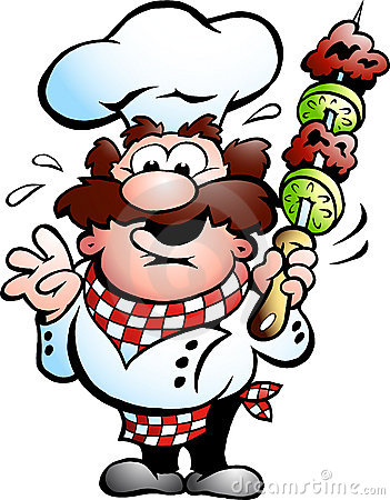 Chef-kok met een kebabvleespen