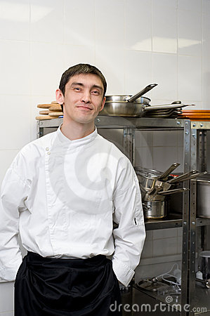 Chef looks into camera