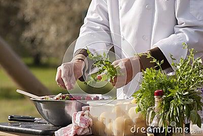 Chef makes beetroot salad