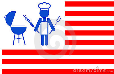Chef making bbq grill with red stripes background